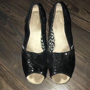 Black Sequin Wedge Toms